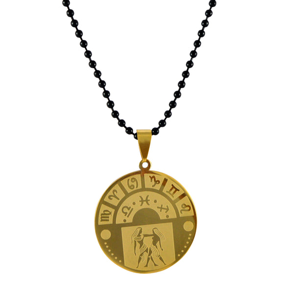 Sarah Gemini Sign Pendant Necklace for Men - Gold