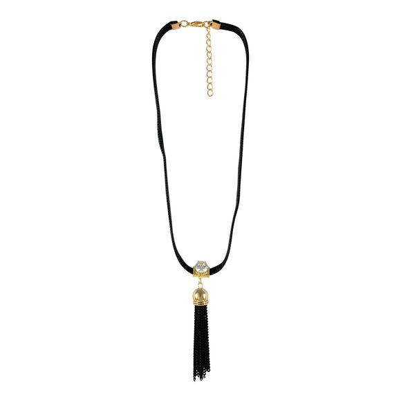 Sarah Tassel Pendent Gothic  Choker Necklace for Women - Black
