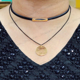 Sarah Textured Coin Charm with Chain Gothic  Choker Necklace for Women - Black
