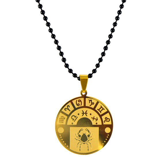 Sarah Cancer Sign Pendant Necklace for Men - Gold
