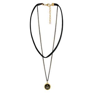 Sarah Crown Pendent with Chain Gothic  Choker Necklace for Women - Black