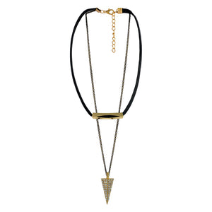Sarah Conical Charm with Chain Gothic  Choker Necklace for Women - Black