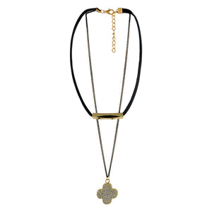 Sarah Floral Pendant with Chain Gothic  Choker Necklace for Women - Black