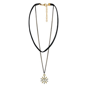 Sarah Pearl Charm with Chain Gothic  Choker Necklace for Women - Black