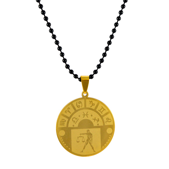 Sarah Libra Sign Pendant Necklace for Men - Gold