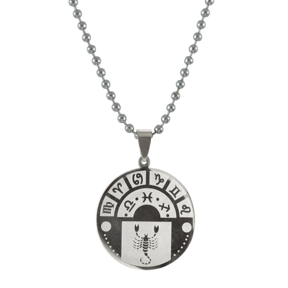 Sarah Scorpio Sign Pendant Necklace for Men - Silver