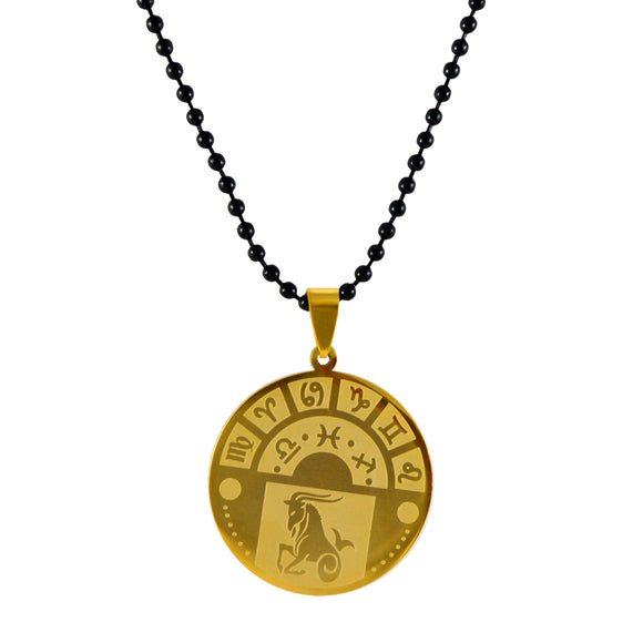 Sarah Capricorn Sign Pendant Necklace for Men - Gold