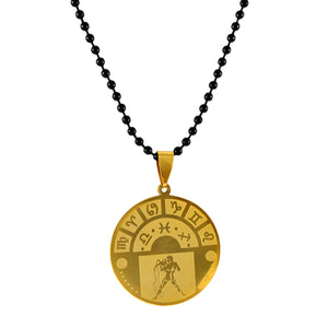 Sarah Aquarius Sign Pendant Necklace for Men - Gold
