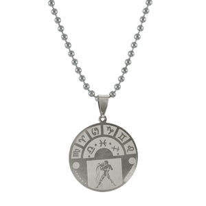 Sarah Aquarius Sign Pendant Necklace for Men - Silver