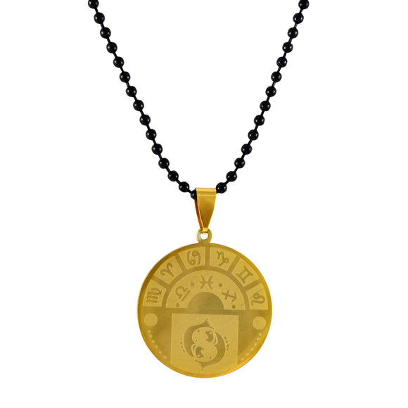 Sarah Pisces Sign Pendant Necklace for Men - Gold