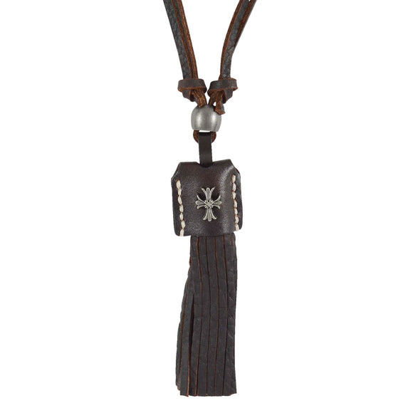 Sarah Cross with Tassels Pendant Adjustable Leather Cord Necklace For Men - Brown