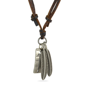 Sarah Leaves with Metal Plate Pendant Adjustable Leather Cord Necklace For Men - Brown