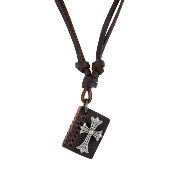 Sarah Diary with Cross  Pendant Adjustable Leather Cord Necklace For Men - Brown