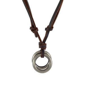 Sarah Double Rings Pendant Adjustable Leather Cord Necklace For Men - Brown