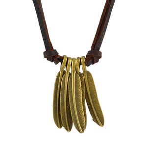 Sarah Metallic Leaves Pendant Adjustable Leather Cord Necklace For Men - Brown