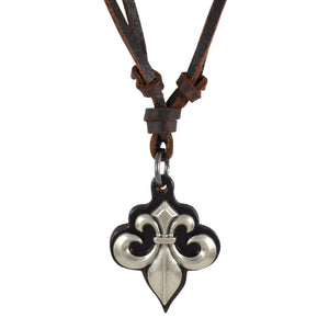 Sarah Fleur Di Lis Pendant Adjustable Leather Cord Necklace For Men - Brown