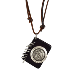 Sarah Only The Brave Pendant Adjustable Leather Cord Necklace For Men - Brown