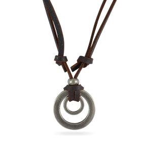 Sarah Double Ring Pendant Adjustable Leather Cord Necklace For Men - Brown