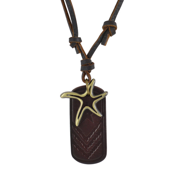 Sarah Star Fish Pendant Adjustable Leather Cord Necklace For Men - Brown