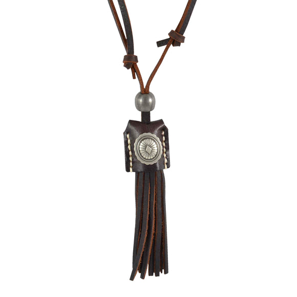 Sarah Tassels with Coin Pendant Adjustable Leather Cord Necklace For Men - Brown