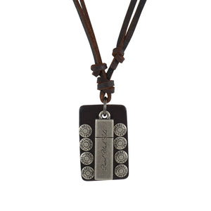 Sarah Rectangle Charm Pendant Adjustable Leather Cord Necklace For Men - Brown