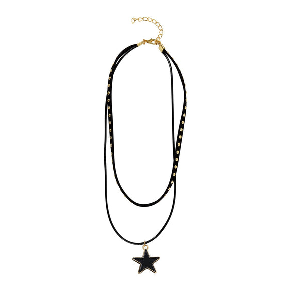 Sarah Lacquered Star Charm Choker Necklace for Women - Black