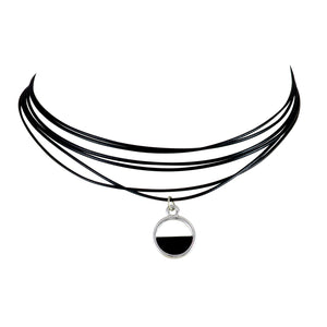 Sarah Lacquered Round Charm Multi-Strand Choker Necklace for Women - Black