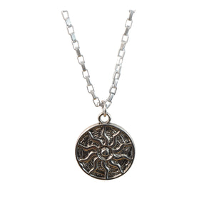 Stainless Steel Sun Pendant Necklace Classic Round Charm Long Chain Men's Necklaces