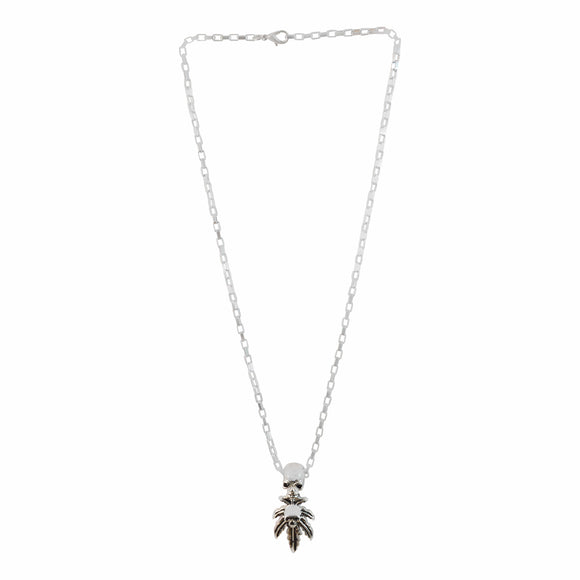 Stainless Steel Double Skull Leaf Sword Pendant Necklacefrom Sarah
