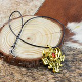 Fashion Jewelry Golden Fierce Dragon Head Pendant Necklace for Men by SARAH