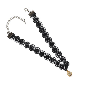 Sarah Hollow Flower Charm Lace Choker Necklace for Women - Black
