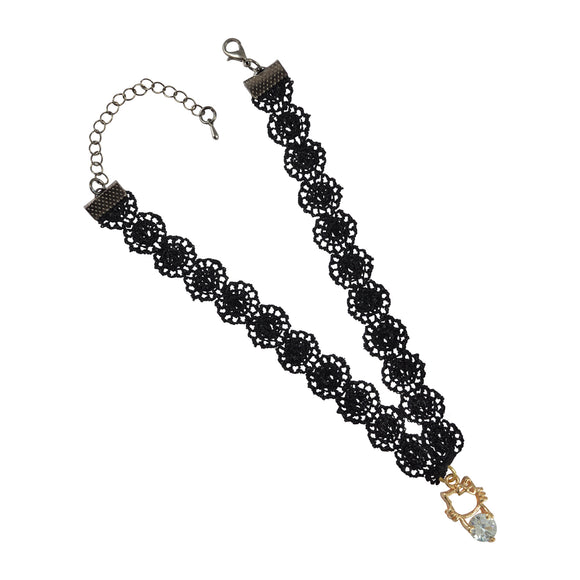 Sarah Cat Charm Lace Choker Necklace for Women - Black