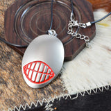 Evil Demon Smile Pendant Necklace in Chrome Finish by SARAH