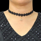 Sarah Swan Charm Lace Choker Necklace for Women - Black