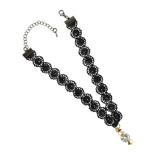 Sarah Gold Moon and Star Charm Lace Choker Necklace for Women - Black