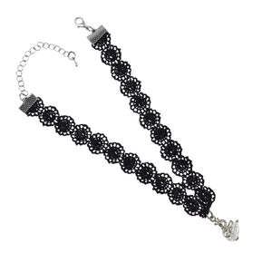 Sarah Silver Swan Charm Lace Choker Necklace for Women - Black