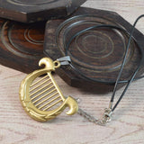 Sarah Sand Gold Color Matte Finish Harp Pendant Necklace for Men