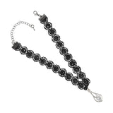 Sarah Silver Teardrop Charm Lace Choker Necklace for Women - Black