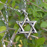Sarah High Quality Stainless Steel Men Biker Jewish STAR OF DAVID Pendant Necklace Jewelry for Men