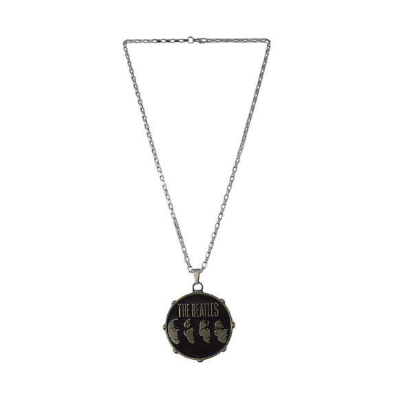 Sarah The Beatles Drum Logo Necklace Music Pendant Band Jewelry for Women Men(Gun Metal Grey)