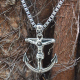Sarah Stainless Steel Jesus Christ Crucifix Anchor Biker Pendant Necklace for Men