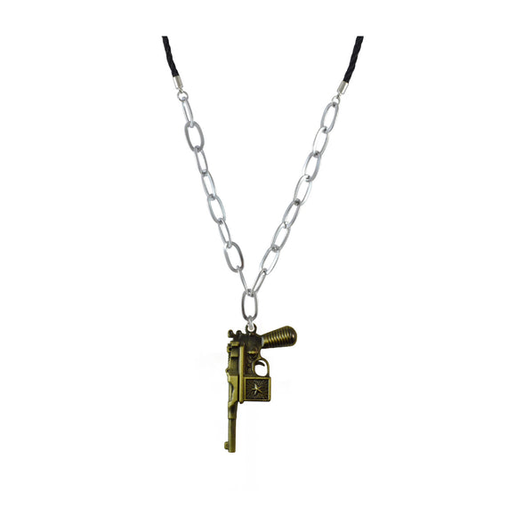 Sarah Antique Bronze Plated Gun Shape Design Pendant Necklace for Men