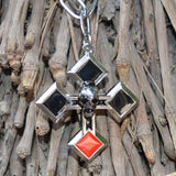 Sarah Wreathed Skull Cross Pendant on Chain and Black Cord for Men