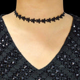 Sarah Periwinkle  Flower Lace Choker Necklace for Women - Black