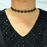 Sarah Daisy Flower Lace Choker Necklace for Women - Black