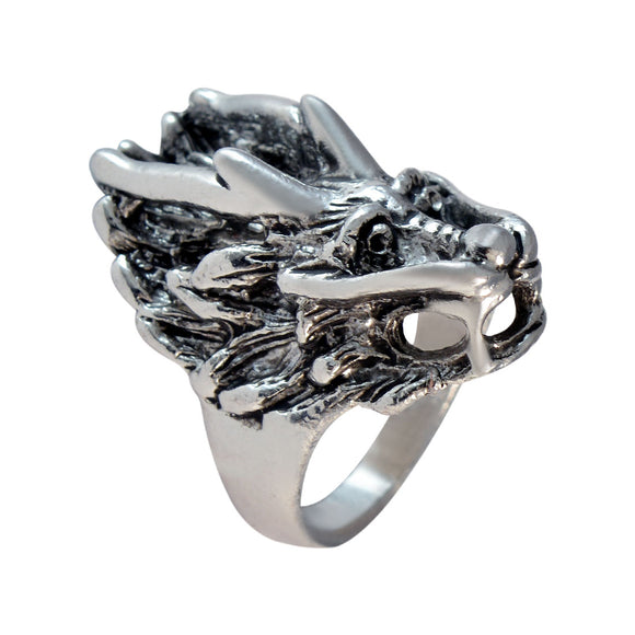 Sarah Dragon Face Finger Ring for Men - Silver