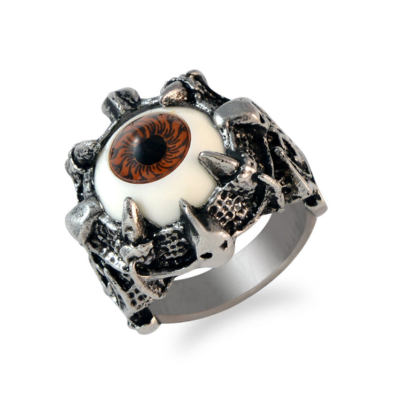 Sarah Claw Holding Brown Evil's Eye Finger Ring for Men - Silver