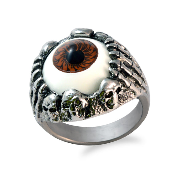 Sarah Skull Hand Clawing Brown Evil's Eye Finger Ring for Men - Silver