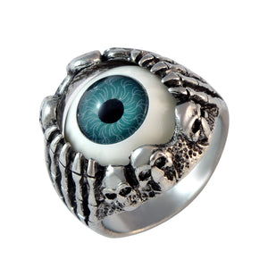 Sarah Skull Hand Clawing Blue Evil's Eye Finger Ring for Men - Silver