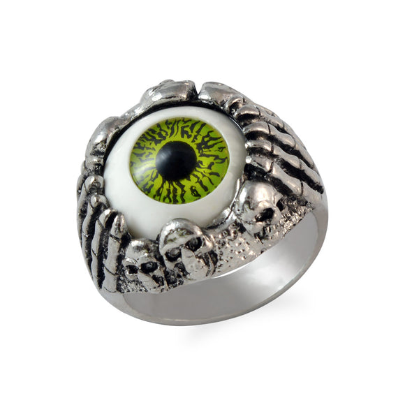Sarah Skull Hand Clawing Green Evil's Eye Finger Ring for Men - Silver